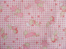 Bedtime bears moon stars  pink print poly cotton fabric sold per metre